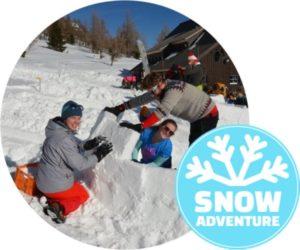 Iglubau Workshop in Schneeschuhen